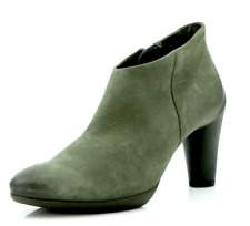 Ecco Sculptured Womens Green Leather Ankle Boots Sz 36 EUR 3412 *