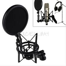 Microphone Shock Mount Stand Holder with Integrated Pop Filter Screen Black Kit