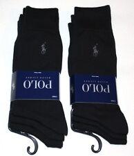 POLO RALPH LAUREN mens dress socks 6 pairs SOLID BLACK - SALE -