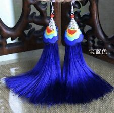Earring Boho Festival Party Boutique Uk Blue Aztec Luxury Long Tassel Fashion