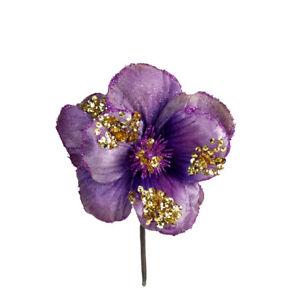5 x Purple Hibiscus Flower Pick Christmas Decoration Sparkle Finish
