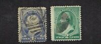 1887 U.S. CLASSIC  1c and 2c Franklin and Washington Lot of 2 Sc#212-213 Used