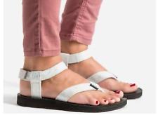 Teva Sandal Silver Metalic Thong LEATHER Straps Upper Womens 7 7.5 EU 38 1007550