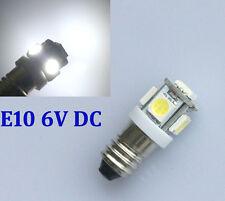 6V LED LAMP E10 SCREW 6 VOLT Xenon WHITE BICYCLE TORCH NO POLARITY E10 6000K