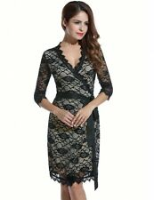 """ISOBEL"" STUNNING LADIES BLACK NUDE LACE WRAP DRESS SIZE 12 STRETCH COCKTAIL"
