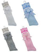 Baby Girls 1 Pair Pom Pom With Satin Bow Socks Spanish Knee-Length Socks 0-24M