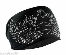 Harley-Davidson Women's Headband Scrunchie, Studded Bar & Shield Wings HE07430