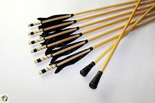 6pk Turkey feather Wood Arrows Safety Arrowheads Blunts Field Recurve Longbow