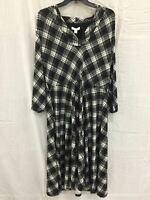 CHARTER CLUB Knit 3/4 Plaid Vneck Midi Dress BLACK LARGE