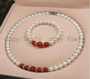 8-10mm White Shell Pearl & Round Yellow/Red Jade Gemstone Necklace Bracelet 18''