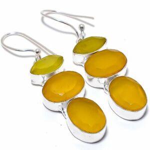 "Yellow Sapphire Gemstone 925 Sterling Silver Jewelry Earring 2.2"""