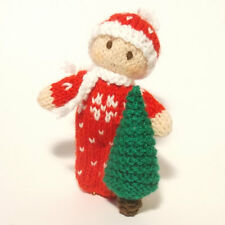 Christmas Bitsy Baby doll knitting pattern, a quick yarn stash knit