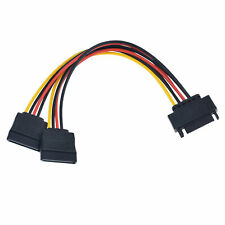SATA Power 15 Pin Y Splitter Cable Adapter Male to Female for HDD Hard Drive