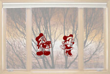 Christmas Mickey Minnie window love Wall Stickers Art Room Removable Decals DIY