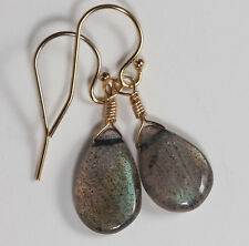 Smooth Pear Shaped Labradorite Drop Earrings on 14k gf Gold French Earwire