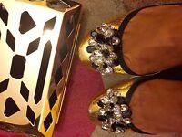ZARA Leather Gold Flat Studded Jewelled Ballerina Sandals Shoes UK 5 Euro 38