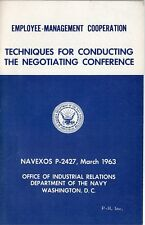Vintage 1963 US Navy Dept Booklet - Techniques For Conducting Negotiating Conf