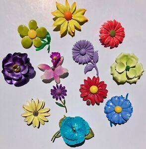 VINTAGE ENAMEL FLOWER PIN BROOCH LOT 5