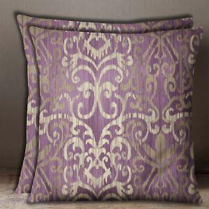 1 Pair Plum Square Home Decor Geometric Print Cotton Poplin Cushion Cover