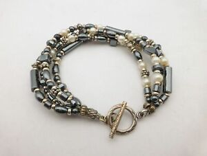 """925 Sterling Silver Hematite Cultured Pearl 4-Strand Beaded Toggle Bracelet 7"""""""