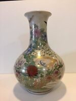 Vintage Japanese Satsuma Handpainted Floral Vase, Hole in the Bottom for Lamp