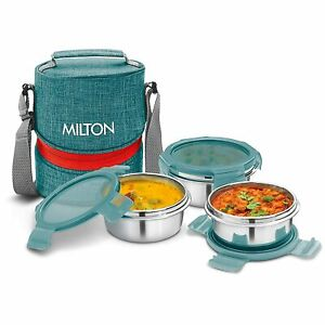 Milton Chic 3 Stainless Steel Tiffin Box, Set of 3, Green