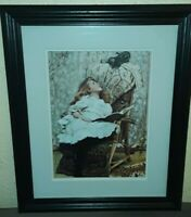 """Framed Glass Painting Print Girl w Cat """"Rival Attraction"""" Charles Burton Barber"""