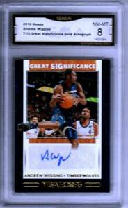 2019-20 Hoops Great Significance Gold Andrew Wiggins AUTO 7/10 GMA 8 NM-MT