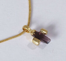 Damen Kette Halskette Kreuzkette gold Anhänger Kreuz amethyst lila Religion Neu