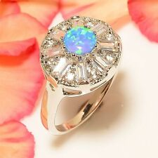 SIZE 9 New Blue Fire Opal White Diamond Lab 925 Sterling Silver Jewelry Ring R10