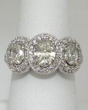 LADIES 14K WHITE GOLD 2 1/4ct DIAMOND HALO THREE OVAL STONE ENGAGEMENT RING