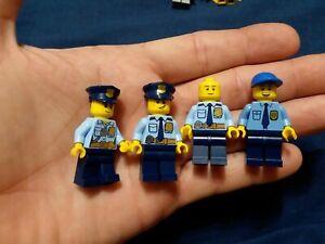 LEGO Lot OF 4 Police Officer COPS Minifigures Light Blue Uniforms
