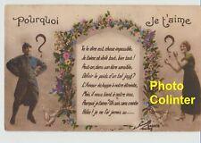 Carte Postale colorisée  - Motif + texte  Patriotico-Sentimentaux - date : 1917
