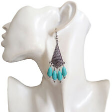 NEW Womens Turquoise Beads Antique-Silver-Tone Rhombus Dangle Drop Hook Earrings