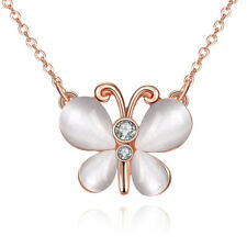 Butterfly Zirconia Lobster Clasp B147 Rose Gold Plated Necklace Women's Pendant