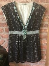Nanette Lepore Beaded Sleeveless Turquoise And Black Lace Top Shirt Size 2 Tunic