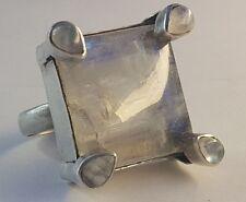 Vintage Designer Modernist Silber Ring 925 mit Mondsteinen Handarbeit Gr.58