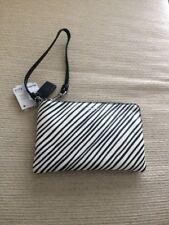 Coach Black White Striped Wristlet Purse Handbag Spring New NWT