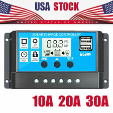 US!10A 20A 30A Solar Charge Controller Battery Regulator 12/24V Auto DualUSB LCD