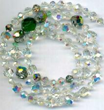 "BEADS Swarovski Cut Austrian Crystal AB Green Clear Faceted  6-12mm 22"" VINTAGE"