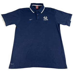 New York Yankees Polo Shirt Nike Pinstripe Short Sleeve Men M Blue White Logo