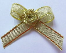 Satin Ribbon Bows With Rose Buds Embellishments x 10 - * Choose Your Colour *