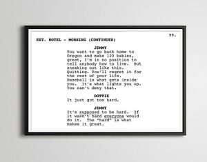 """A League of Their Own Screenplay POSTER! (up to 24"""" x 36"""") - Minimalist - Movie"""