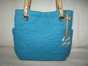 Relic by Fossil Turqoise Quilted Hobo Shoulder Bag Side Pockets