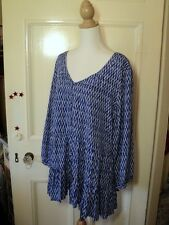 SALE wite+ indigo blue white  long tunic top NWOT  rayon abstract  print