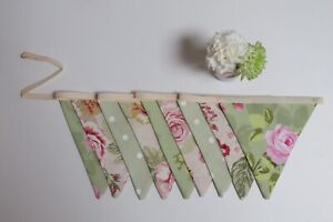 Vintage shabby chic wedding floral double sided green red fabric bunting