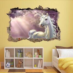 Unicorn Fairy Tale Dreamland Fantasy 3D Wall Sticker Mural Decal Kids Girls CT12