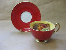 Aynsley Fine Bone China Cabinet Cup & Saucer ~ Orchard Gold with Red Band