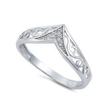 Filigree Chevron Clear Diamond Thumb Ring Genuine Sterling Silver Labor Day Sale
