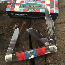 ROUGH RIDER Turquoise Mother of Pearl STONEWORX STOCKMAN 3 Blade Knife RR1419.